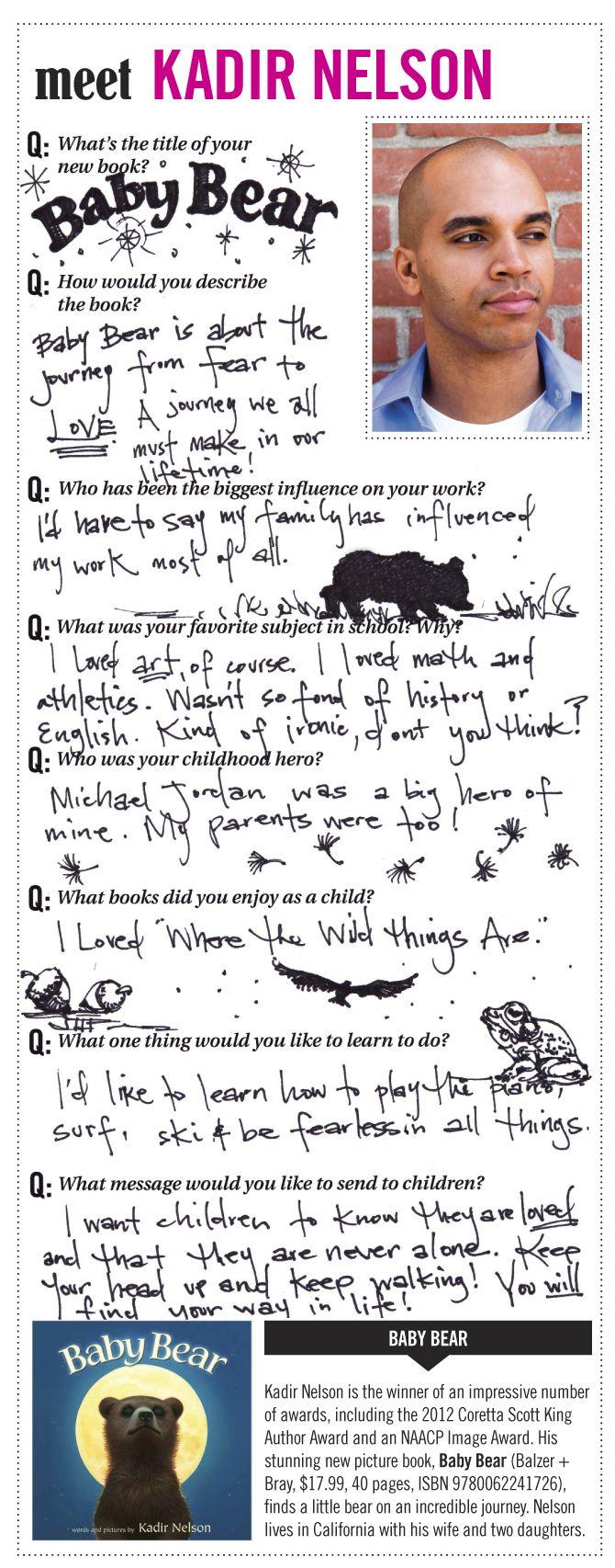 Meet Kadir Nelson, author-illustrator of BABY BEAR!