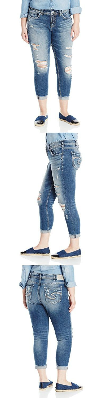 Silver Jeans Women's Plus Size Suki Curvy-Fit Mid-Rise Skinny Crop-Leg Jean, Medium Indigo Distressed, 16