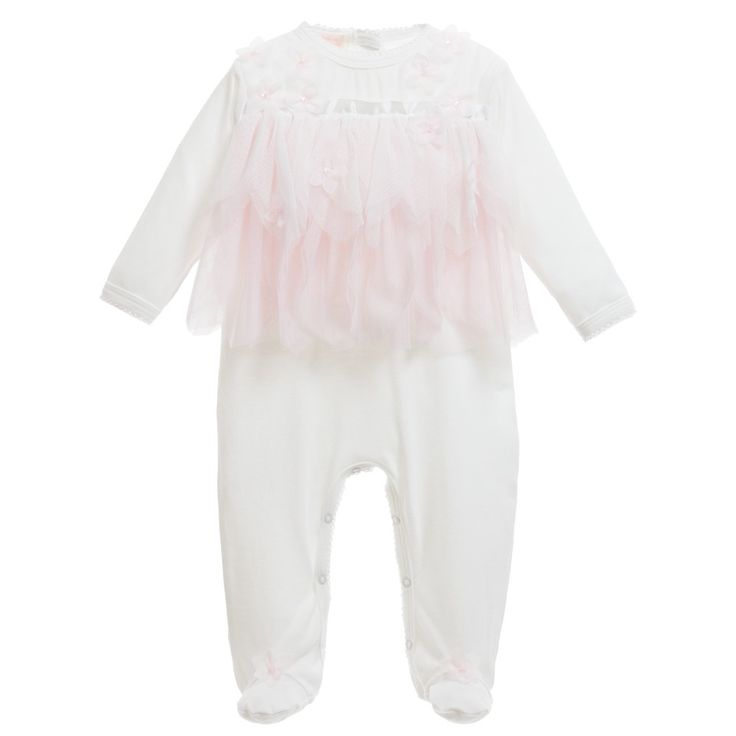 Girls Ivory Babygrow with Pink Fairy Petals, Kate Mack & Biscotti, Girl