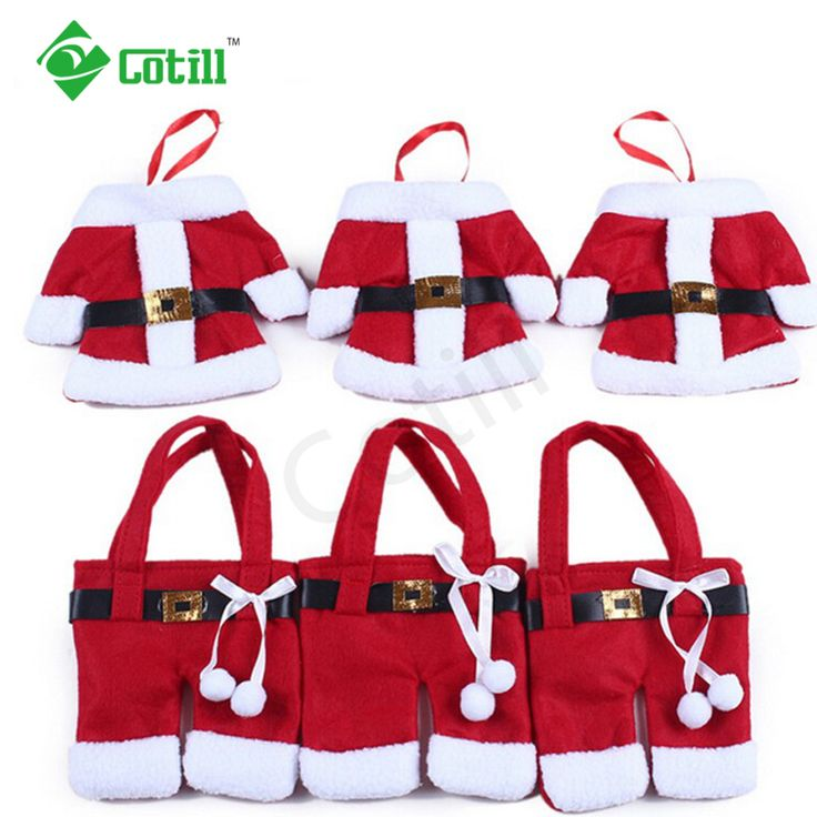6Pcs/lot Christmas Decorations 2016 Silverware Holdersanta  Pockets Dinner Decor Knife Fork Holders Santa Claus Merry Christmas
