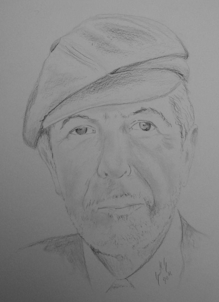 Leonard Cohen. Dessin au crayon