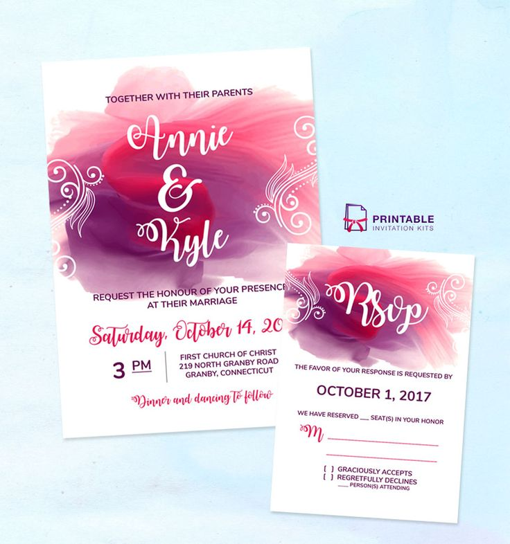211 best wedding invitation templates free images on pinterest free pdf download for diy wedding invitations watercolor splash wedding invitation and rsvp stopboris Gallery