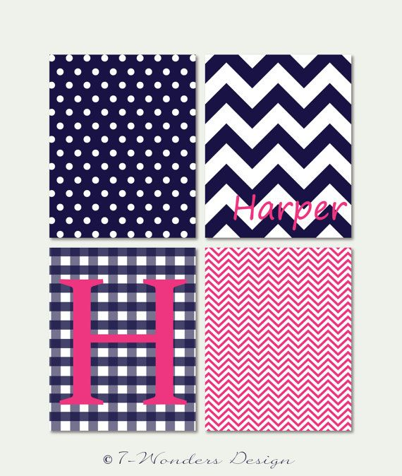 Girls Tweens Personalized Wall Art Print Set Bedroom Decor // Pink and Navy Blue // Print Set of (4) – 8″ x 10″ // Girls Bedroom Fine Art