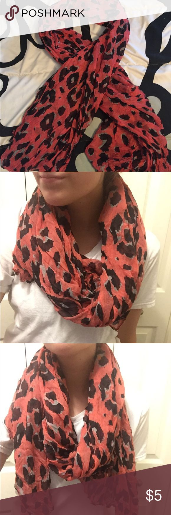 Pink cheetah scarf! Super soft material, lightweight, not too hot, pink cheetah pattern. (Color better shown in picture of scarf laid down) Accessories Scarves & Wraps