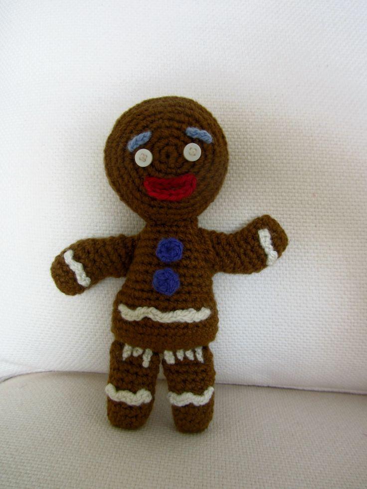 shrek gingerbread man amigurumi, crochet doll, galleta de jengibre a crochet
