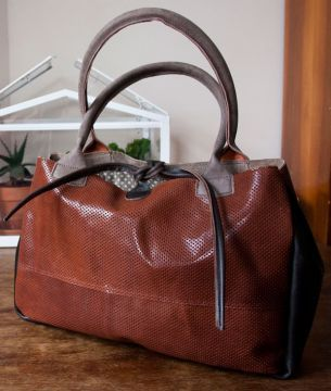 Brązowa torba na ramię - Ręcznie robione skórzane torby