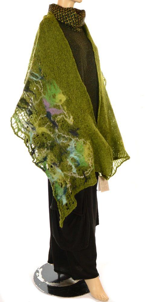 Studio Oversize Green & Multicolour Felted Wool & Silk Wrap Scarf-Studio Art, lagenlook, womens plus size UK clothing,