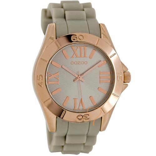 Ρολόι Oozoo Timepieces 40mm RoseGold Case - Grey Rubber Strap