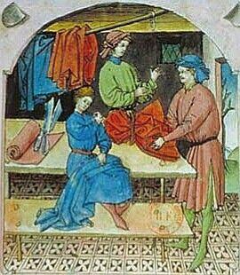 Marchand de vêtements de soie Albucasis, Tacuinum sanitatis, Allemagne (Rhénanie), XVesiècleParis, BnF, département des Manuscrits, Latin 9333, fol. 104 Chacun s'habillait selon son niveau d'aisance : aux riches, la laine et la soie, aux pauvres le chanvre non teint. Les médecins du Moyen Âge conseillaient judicieusement aux personnes âgées de se vêtir de laine, aux jeunes de s'habiller de lin, et suggéraient aux affaiblis de se revêtir de tissu de soie.