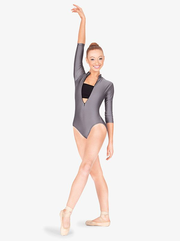 593da6e09f36 3/4 Sleeve Zip Front Leotard - 3/4 Sleeves | Natalie N8733 |  DiscountDance.com