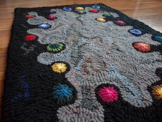 Happy Dots - Primitive Hooked Rug