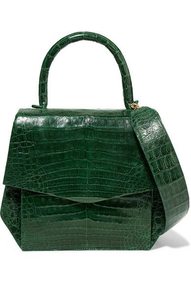 Nancy Gonzalez Small glossed-crocodile tote $3,340 Forest-green glossed-crocodile, cream suede (Calf) Snap-fastening front flap Comes with dust bag Crocodile: Colombia Weighs approximately 1.3lbs/ 0.6kg Imported
