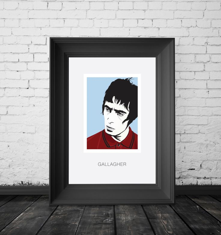 Liam Gallagher, Oasis and Beady Eye front man, Singer and Britpop legend. A4,A3 and A2 Hand and Digitally Drawn Poster. By Mike Moran by IconicArtwork on Etsy https://www.etsy.com/listing/290595873/liam-gallagher-oasis-and-beady-eye-front