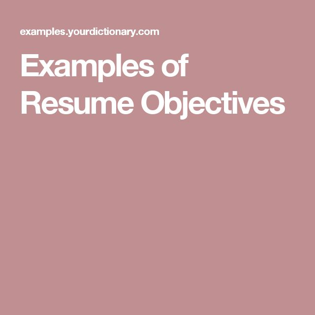 Sample resume objective statement for human resources