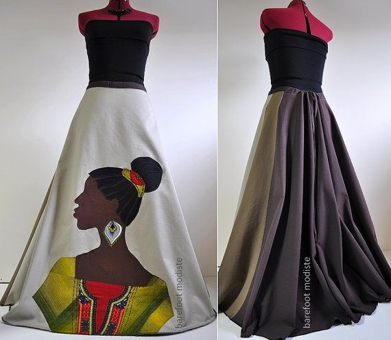 La Nubienne - Long Handmade Appliqued skirt, One of a Kind Bohemian skirt, African Woman applique,  Unique Art to Wear, Suited for M to XL