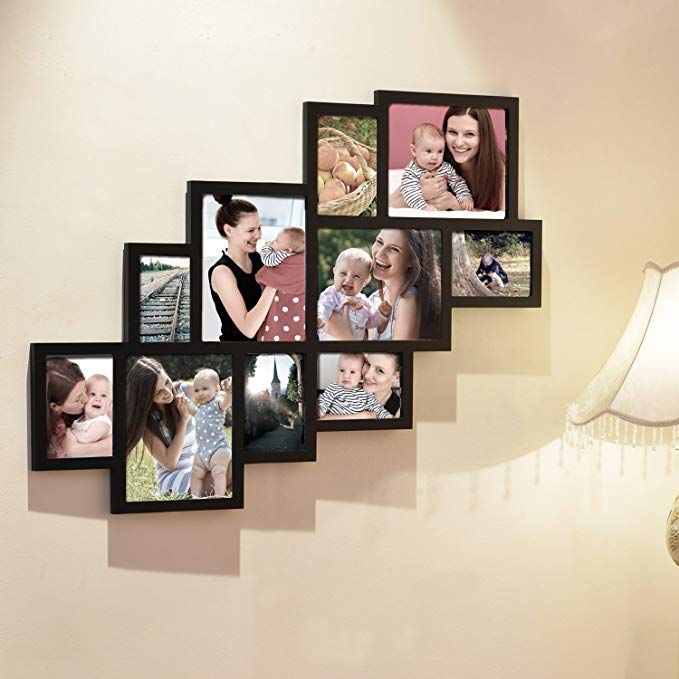 Adeco 10 Openings Decorative Black Wood Wall Hanging Print Picture Photo Cluster Collage Frame Picture Collage Wall Wood Wall Hanging Collage Picture Frames