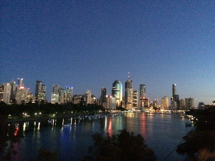 Brisbane city at dawn.