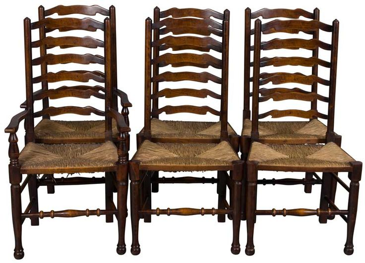 Tall Ladder Back Chairs, Antique Cherry Wood