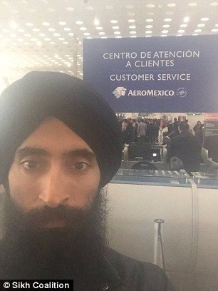Ahluwalia, 41, pictured left posing in Mexico City International Airport, says security personnel prohibited him from getting on the plane after he refused to remove his article of faith in public