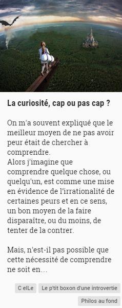 C elLe Le p'tit boxon d'une introvertie - La curiosité, cap ou pas cap ?