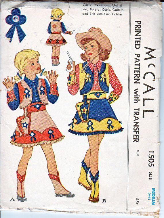 western costume pattern | McCalls 1505 Girls Western Costume Outfit Skirt Bolero Cuffs Gaiters ...