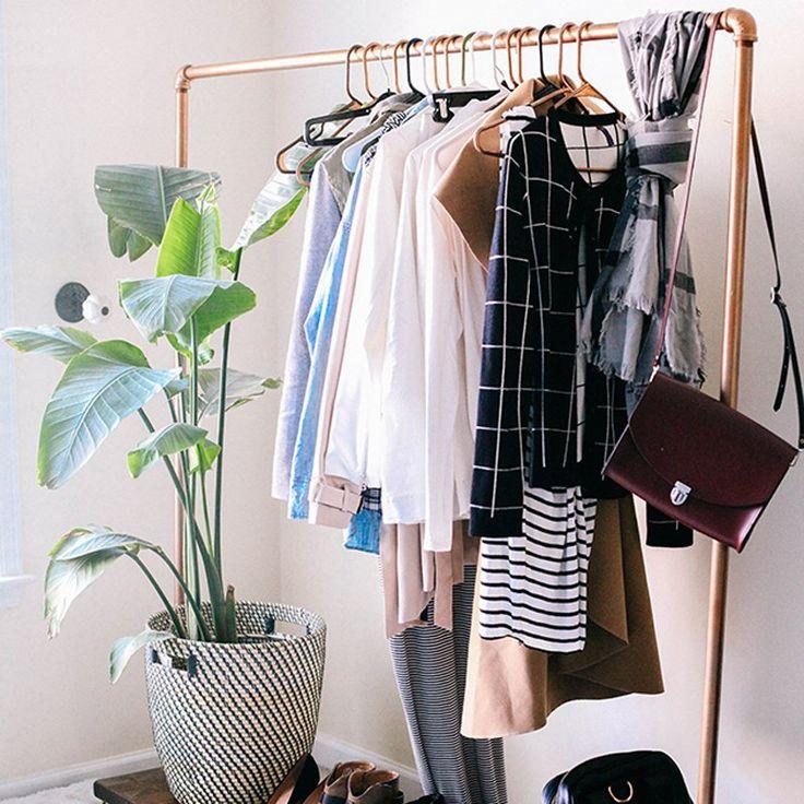 Un portant à vêtements tout en cuivre - Marie Claire Idées - DIY clothes rack