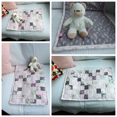 Teppe til dukke -Small doll quilt from scraps -Moski
