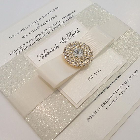 Glamorous Bling Jewel Wedding Invitation. Ivory over Ivory/ Gold. Lovely Monogram. Stunning Sparkling invite, Bilingual