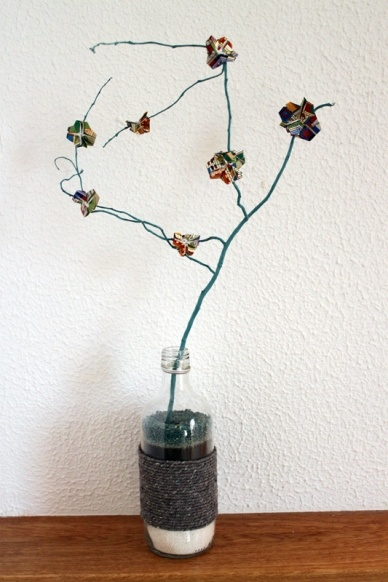 old bottle turned into decoration
