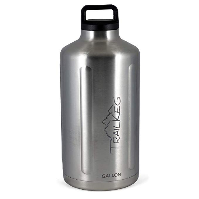 Trailkeg 128oz Vacuum Insulated Bottle Portable Stainless Steel Growler For Beer And Other Beverages Keeps Drinks Cold For Up To 24 Hours Double Sealing Insulated Bottle Stainless Steel Growler Stainless Steel Bottle