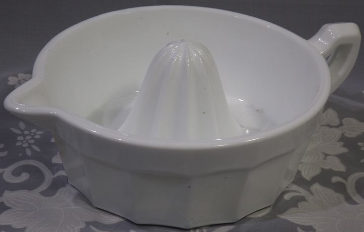 Large Mosser Glass white milk glass juicer