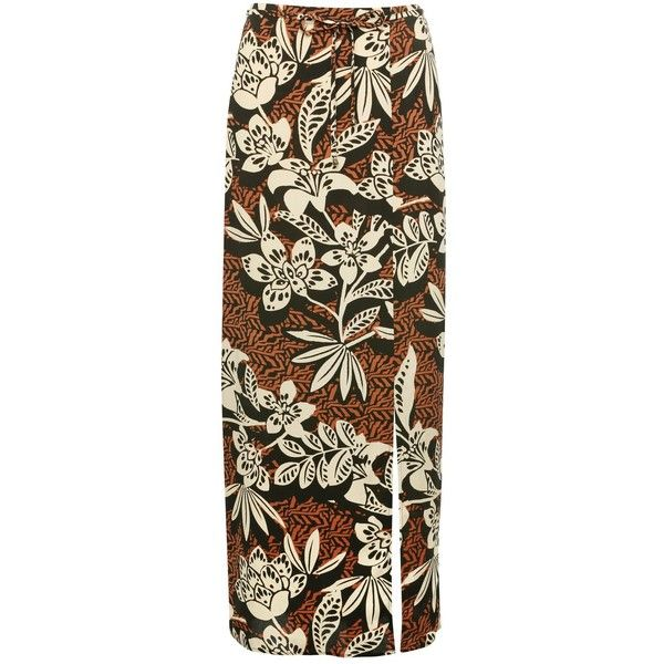 M&Co Tropical Print Maxi Skirt (€29) ❤ liked on Polyvore featuring skirts, rust, long brown skirt, tie-dye skirt, long skirts, brown maxi skirt and brown skirt
