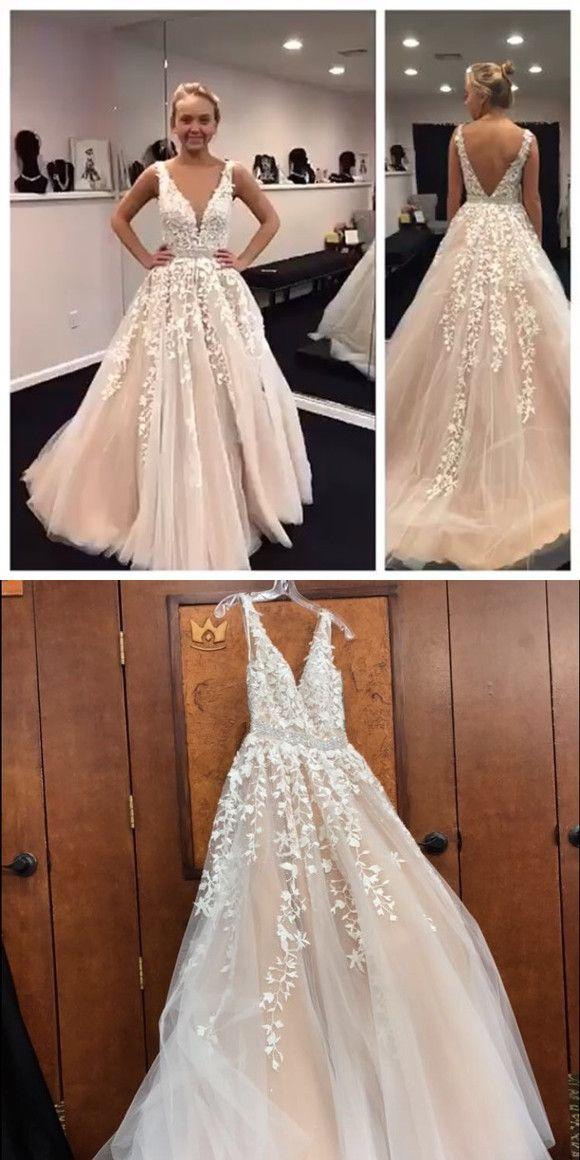 long wedding dress, champagne wedding dress, lace appliques wedding dress, 2017 wedding dress