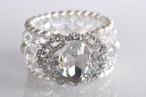 Vintage Inspired Handmade Crystal Rhinestone & Pearl Stretch