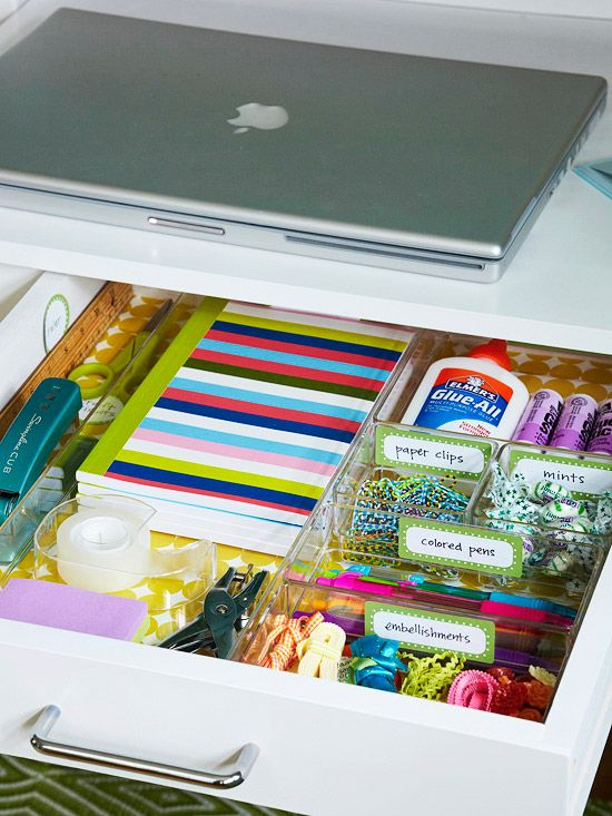 Keep a desk drawer tidy with clear organizing trays and colorful labels. Free Lables: www.bhg.com/...