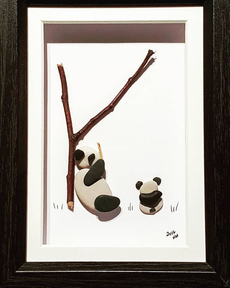 Mama and baby #pebbles #natureart #pandas #krissyrockit