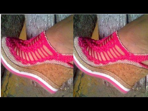 Zapatos de Dama Tejido a Crochet - YouTube                                                                                                                                                      Más