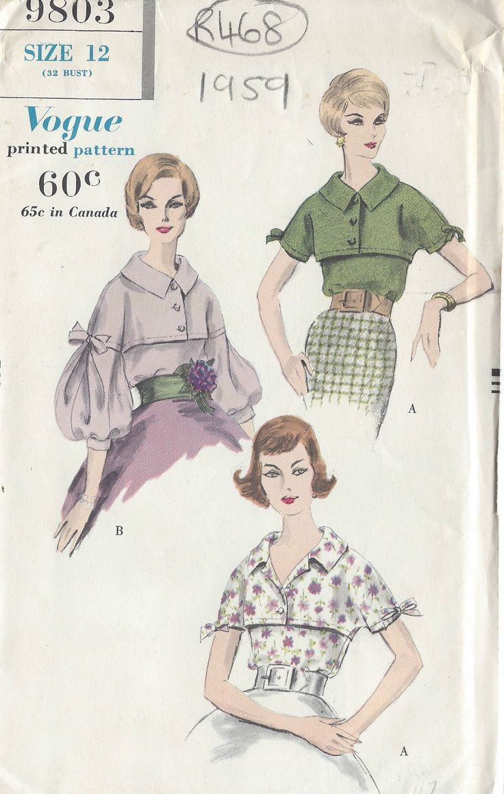 "1959 Vintage VOGUE Sewing Pattern BLOUSE B32"" (R468) | eBay"
