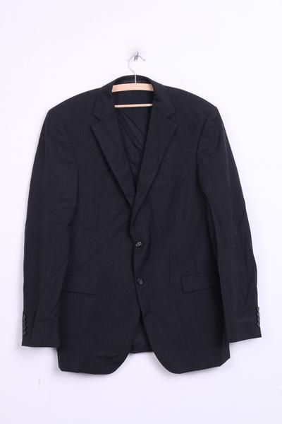 Strellson Mens 102 L Blazer Top Suit Striped Black Wool Single Breasted - RetrospectClothes