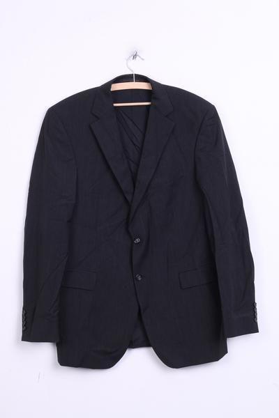 Strellson Mens 102 L Blazer Top Suit Striped Black Wool Single Breasted - RetrospectClothes
