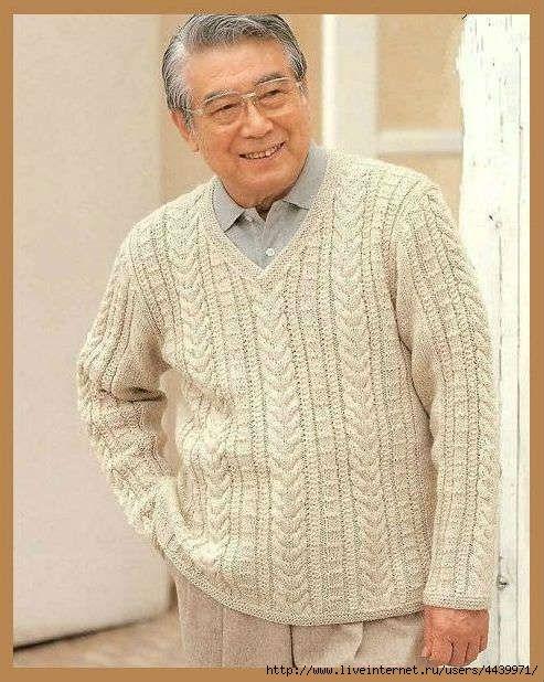 Озорные петельки: Мужской пуловер