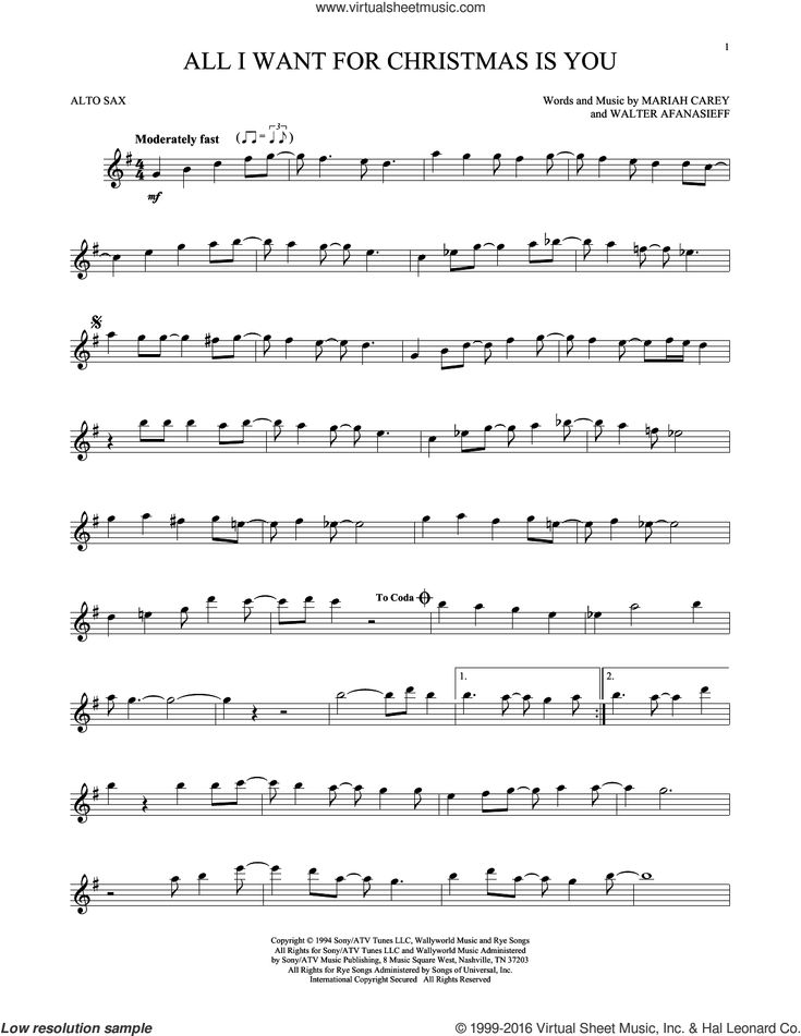 All I Want For Christmas Is You sheet music for alto saxophone solo by Walter Afanasieff and Mariah Carey. Score Image Preview.