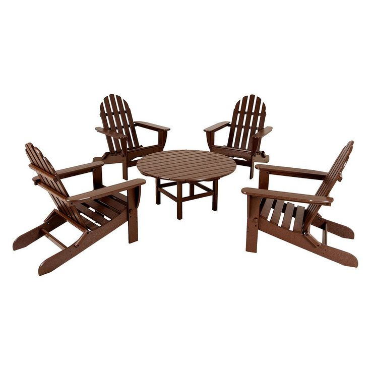POLYWOOD 5-pc. Classic Folding Adirondack Chair and Table Set - Outdoor, Dark Brown