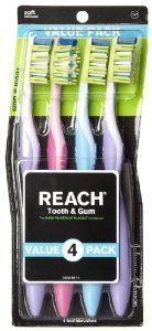 Reach Tooth & Gum toothbrush-soft-4-Count Value Pack, (Pack of 2) by Reach. $22.98. Pack of two, 4-counts per unit (total of 8 counts). Soft thumb rest, ergonomic grip. Gentle rubber gum stimulators massage the gums. Angled neck for reaching hard to get to places. Reach Tooth & Gum toothbrush Gentle gets rid of stubborn plaque while rubber gum stimulators massage the gums.. Save 21% Off!