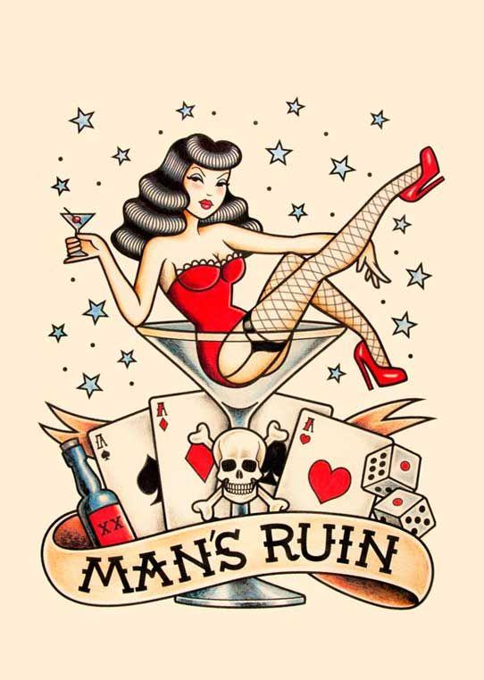 """MAN´S RUIN. Ilustración inspirada en los tatuajes """"Old School"""" de los años 20."""