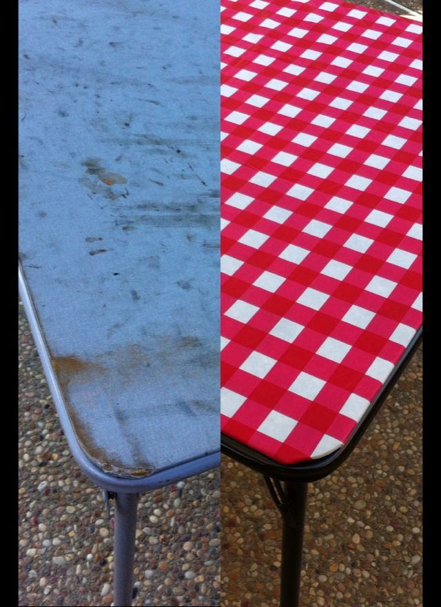 card table redo! Under an hour, less than $5