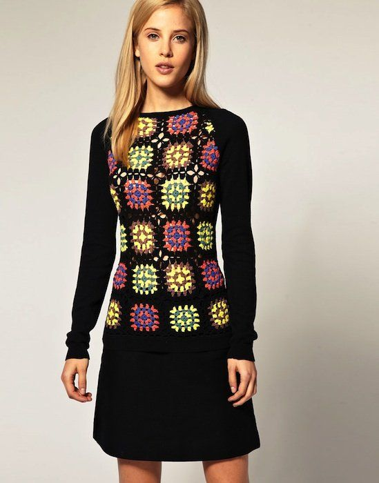 Idea for mixing knit & crochet-maybe use old sweater sleeves or crochet over a knit top.