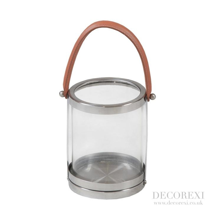 """Small Round Glass And Stainless """"Leather"""" Handle Lantern"""