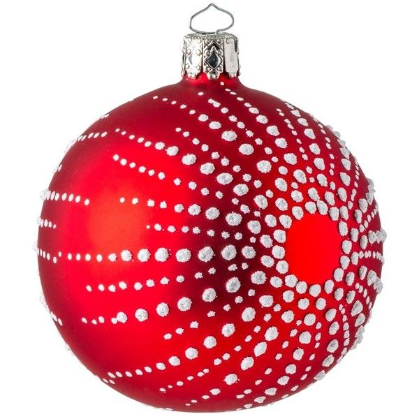 Red Matte & Snow Christmas Bauble (35 BAM) ❤ liked on Polyvore featuring home, home decor, holiday decorations, the conran shop, christmas home decor, red home decor, christmas holiday decorations, christmas holiday decor and red home accessories