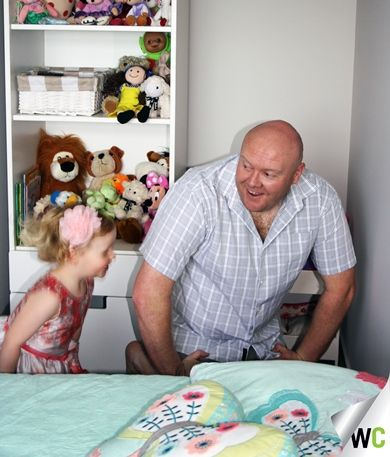 Lee helped his daughter Elise install her Butterfly Decal in her room - she was so excited about getting involved in the interior design!